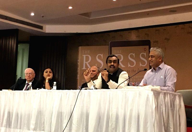 """National General Secretary of the Bharatiya Janata Party Ram Madhav Participating in a panel discussion during the launch of the book """"The RSS - A View to the Inside"""" at India International ..."""