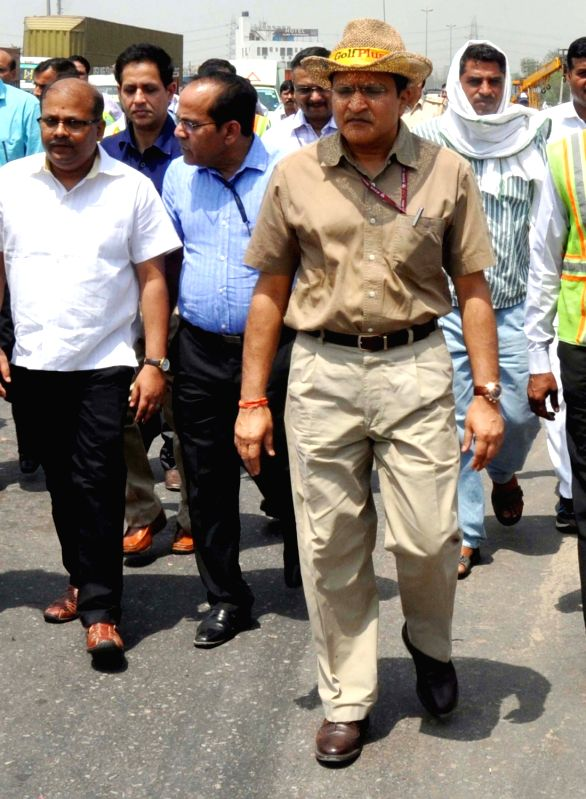 National Highways Authority of India (NHAI) chairman Raghav Chandra visits Kherki Daula toll plaza after complaint from commuters over traffic chaos on expressway in Gurgaon on May 14, 2016.