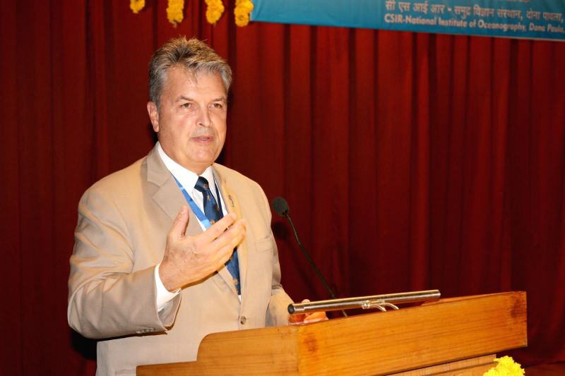 National Oceanic and Atmospheric Administration's (NOAA) chief scientist Craig McLean addresses during the second India-US colloquium on Earth Observations and Sciences for Society and ...