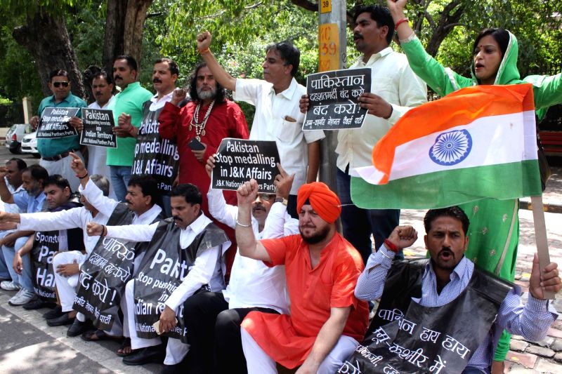 National Panther Party (NPP) members stage a demonstration against Pakistan in front of Pakistan High Commission, in New Delhi on July 19, 2016.