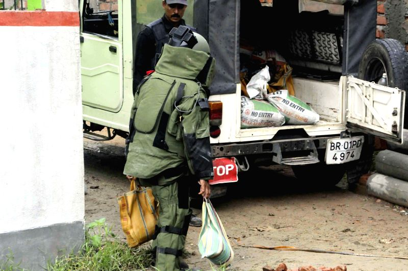 National Security Guard (NSG) recovered a huge explosive material from a private lodge at Khemnichak in Patna on July 11, 2015.