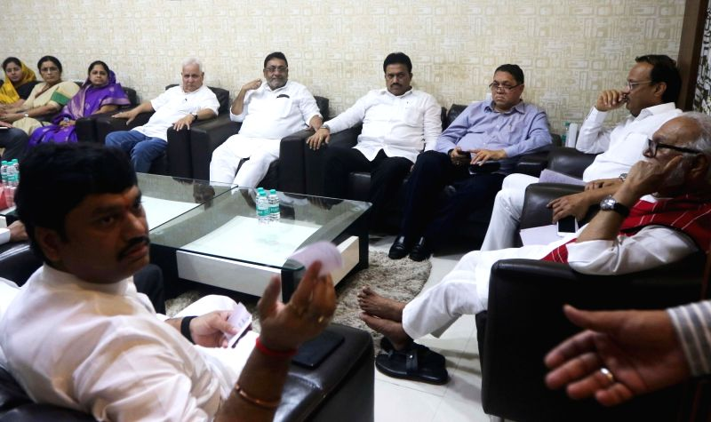 Nationalist Congress Party Ajit Pawar, Chhagan Bhujbal and others during a party meeting in Mumbai, on July 29, 2018.