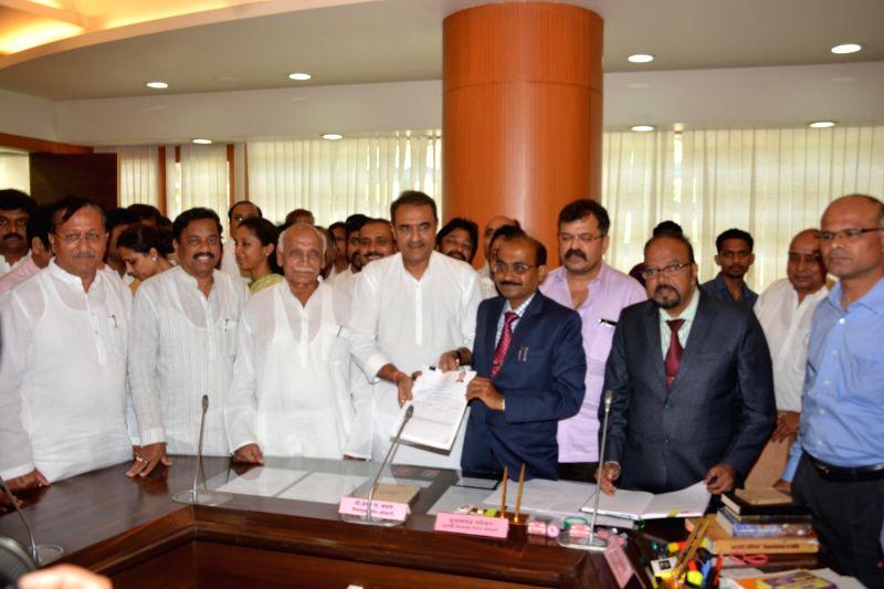 Nationalist Congress Party (NCP) general secretary Praful Patel files nominations for polls to Rajya Sabha at Maharashtra Assembly in Mumbai, on May 27, 2016. - Praful Patel