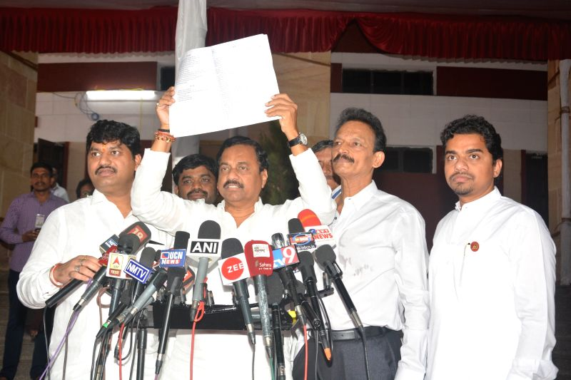 Nationalist Congress Party (NCP) leader Sunil Tatkare addresses a press conference at Maharashtra Assembly, in Nagpur, on July 13, 2018.