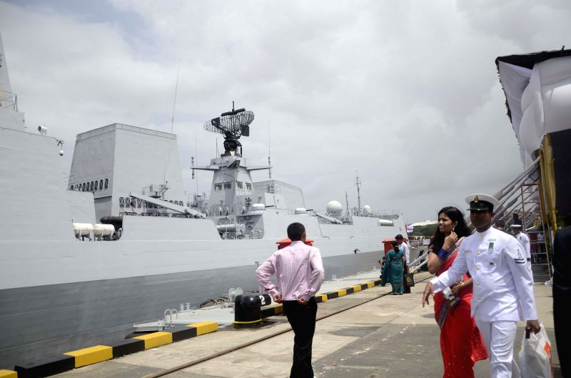 Naval officers during the commissioning ceremony of INS Kolkata at the Naval Dockyard in Mumbai on Aug. 16, 2014.