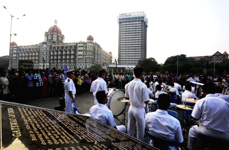 Navy Band performs at the Gateway of India in Mumbai on Nov 1, 2015.