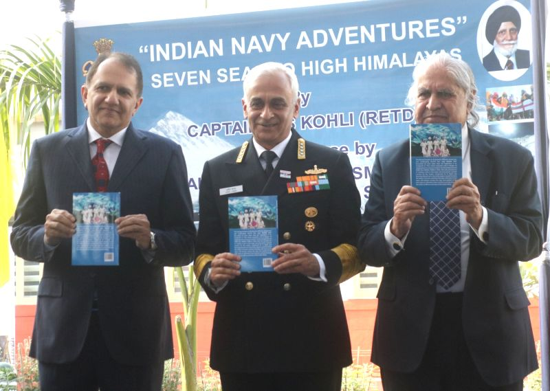 "Navy chief Admiral Sunil Lanba at the launch of Capt. (Retd.) M.S. Kohli's book ""Indian Navy's Adventure - Seven Seas To High Himalayas"" in New Delhi, on Dec 1, 2017. - S. Kohli"
