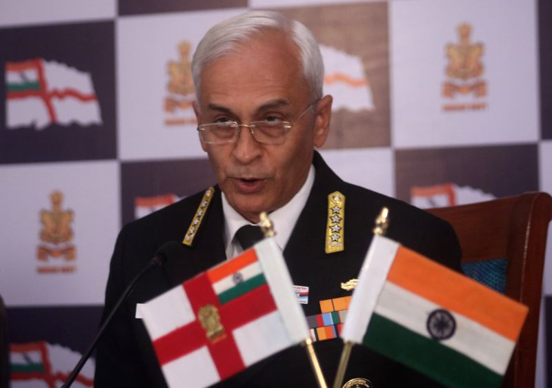Navy chief Admiral Sunil Lanba during a press conference regarding Navy Day in New Delhi, on Dec 1, 2017.