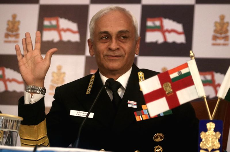 Navy chief Sunil Lanba during a press conference regarding Navy Day in New Delhi, on Dec 1, 2017.