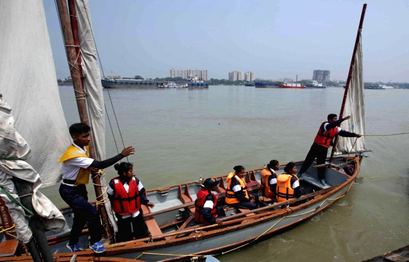 Navy National Cadet Corps (NCC) cadets of West Bengal and Sikkim arrive at Man of War Jetty near Princep Ghat after sailing from Farakka on Whaler boats during the NCC sailing expedition ...
