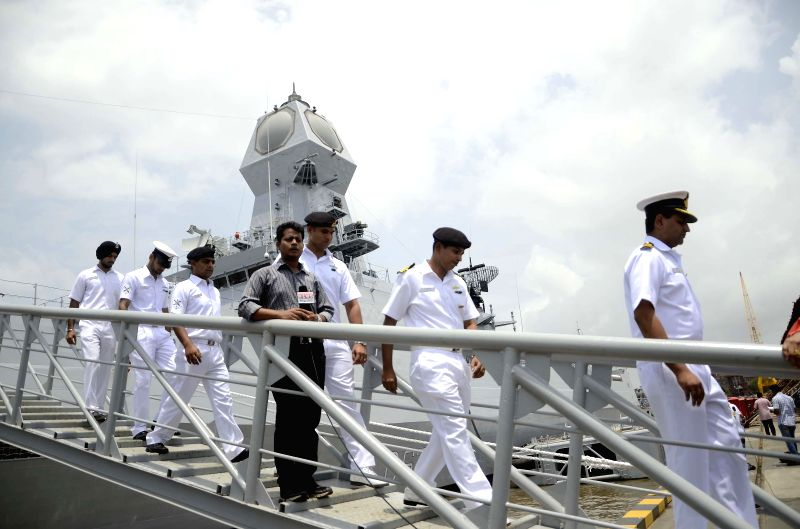 Navymen aboard `INS Kolkata`, which will be formally launched on 16th August by Prime Minister Narendra Modi, in Mumbai on Aug 13, 2014. - Narendra Modi