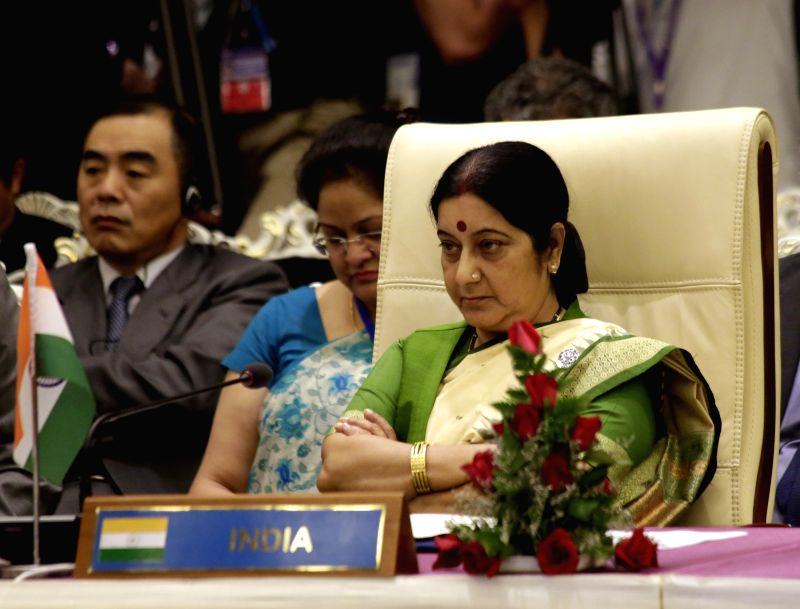 Indian Minister of External Affairs Sushma Swaraj attends the 4th East Asia Summit (EAS) Foreign Ministers' Meeting at Myanmar International Convention Center .. - Sushma Swaraj