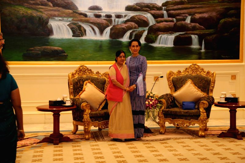 Nay Pyi Taw: External Affairs Minister Sushma Swaraj calls on Myanmar's State Counsellor Aung San Suu Kyi in Nay Pyi Taw, Myanmar on Aug 22, 2016. - Sushma Swaraj