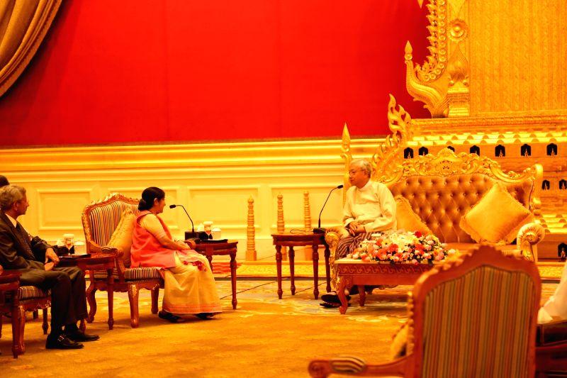 Nay Pyi Taw: External Affairs Minister Sushma Swaraj calls on Myanmar President U Htin Kyaw in Nay Pyi Taw, Myanmar on Aug 22, 2016. Also seen Indian Foreign Secretary S Jaishankar. - Sushma Swaraj