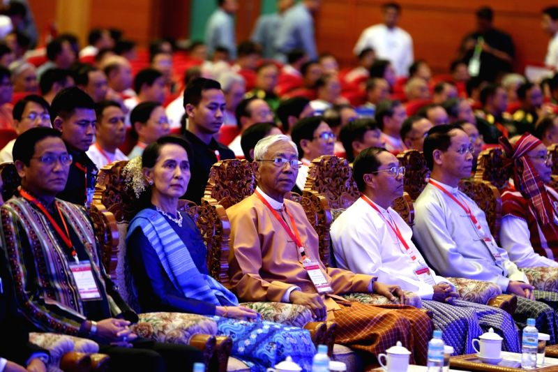 NAY PYI TAW, Feb. 13, 2018 - Myanmar's President U Htin Kyaw (C front) and Myanmar's State Counselor Aung San Suu Kyi (2nd L, front) attend the signing ceremony of Nationwide Ceasefire Accord at the ...