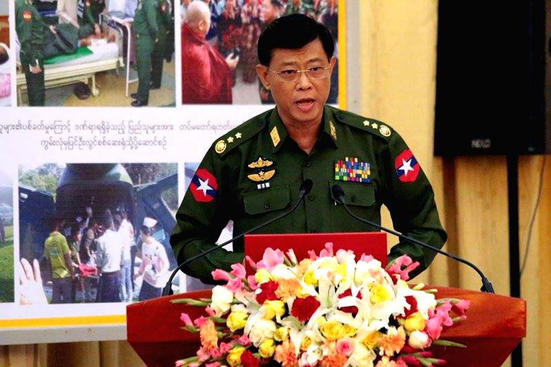 Lieutenant General of Commander-in-Chief Office Mya Tun Oo speaks to media during a press conference in Nay Pyi Taw, Myanmar, Feb. 21, 2015. The situation in ...