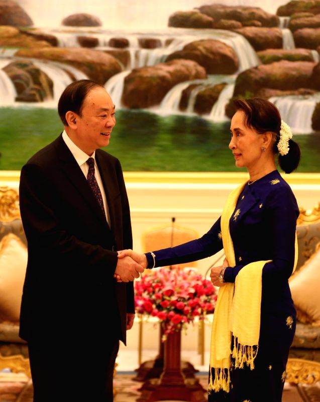 NAY PYI TAW, July 11, 2018 - Myanmar's State Counselor and Chairperson of the National League for Democracy (NLD) Aung San Suu Kyi (R) meets with Huang Kunming, member of the Political Bureau of the ...
