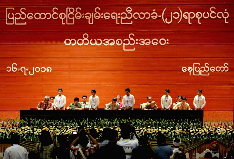 NAY PYI TAW, July 16, 2018 - Representatives sign on document during the third session of the 21st Century Panglong Peace Conference at the Myanmar International Convention Centre in Nay Pyi Taw, ...