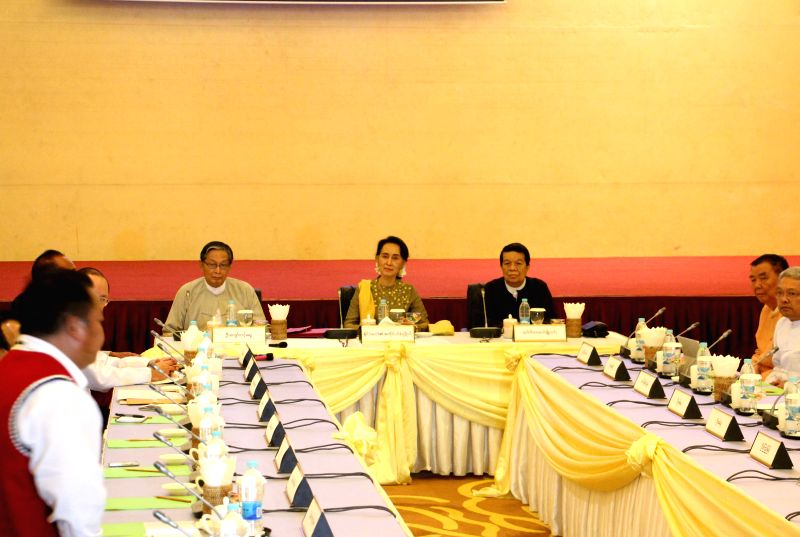 NAY PYI TAW, July 29, 2016 - Myanmar State Counselor Aung San Suu Kyi (C, rear) meets with leaders of armed ethnic groups United Wa State Army (UWSA) and MongLa National Democratic Alliance Army ...