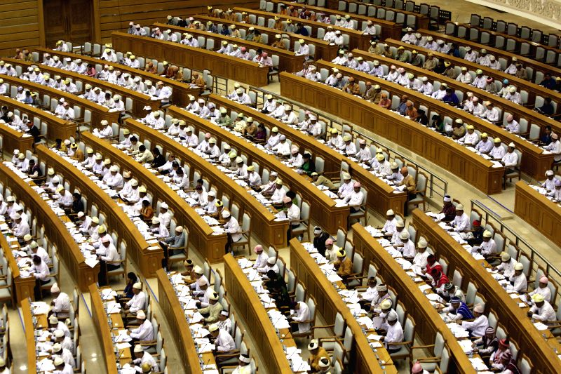 Representatives attend the 10th regular session of the Union Parliament in Nay Pyi Taw, Myanmar, on July 30, 2014. Myanmar's parliamentary House of ...