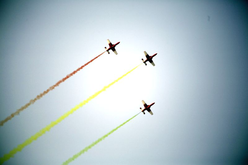 Myanmar military fighter jets perform during a military parade to mark the 70th anniversary of the Armed Forces Day in Nay Pyi Taw, Myanmar, March 27, 2015. ...