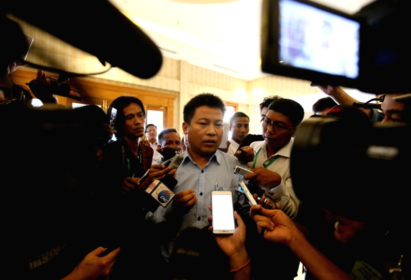 NAY PYI TAW, May 26, 2017 - General Secretary-2 of the Ta'ang National Liberation Army (TNLA) Tha Ban Hla (C) speaks to media after meeting with Myanmar State Counselor Aung San Suu Kyi in Nay Pyi ...