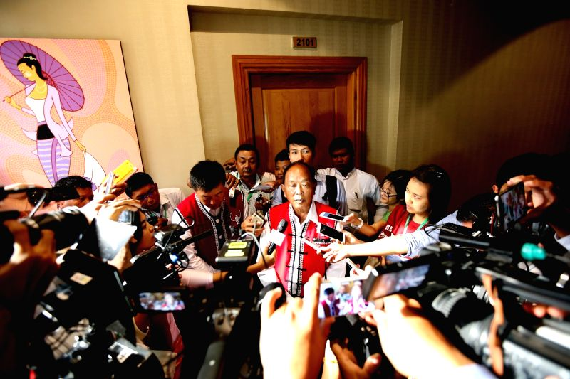 NAY PYI TAW, May 26, 2017 - U Zhao Guo An (C), External Relations Officer of the United Wa State Army (UWSA), speaks to media after meeting with Myanmar State Counselor Aung San Suu Kyi in Nay Pyi ...