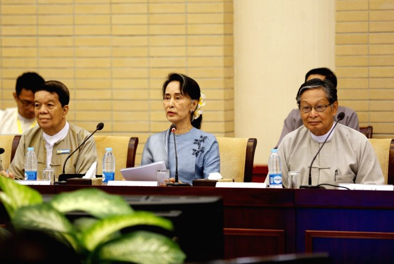 NAY PYI TAW, May 28, 2017 - Myanmar State Counselor Aung San Suu Kyi (C) attends the meeting of the Union Peace Dialogue Joint Committee (UPDJC) during the Second Meeting of Myanmar's 21st Century ...
