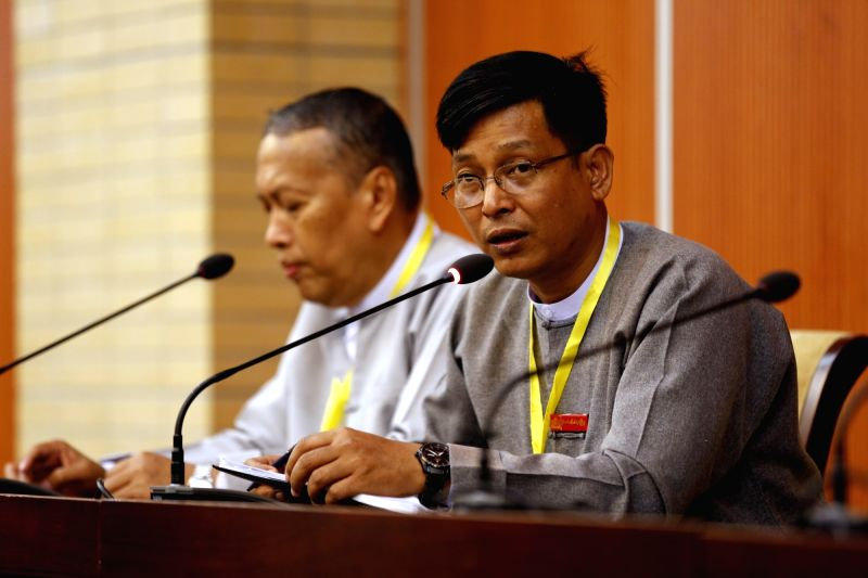 NAY PYI TAW, May 28, 2017 - U Zaw Htay (R), Director-General of the Office of the State Counselor's Office, speaks to media at a press conference on the meeting of the Union Peace Dialogue Joint ...