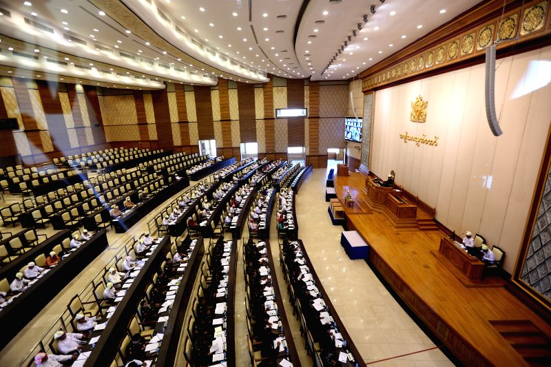 Nay Pyi Taw (Myanmar): Photo taken on Nov. 27, 2014 shows a scene of the 11th regular session of the parliament's Upper House in Nay Pyi Taw, Myanmar. Myanmar parliament's Upper House on Thursday ...