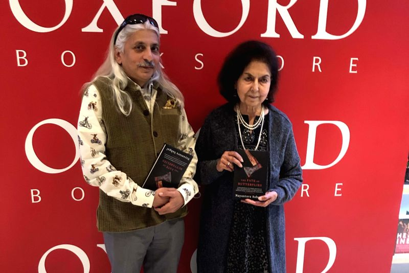 """Nayantara Sahgal and Sanjoy Roy at the launch of """"The Fate of Butterflies"""" in New Delhi."""