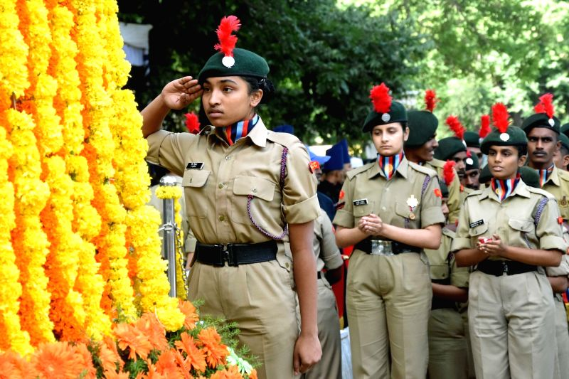 NCC cadets pay homage to the martyrs on the occasion of Kargil Vijay Diwas at National Military Memorial Park, in Bengaluru on July 26, 2018.