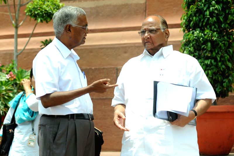 NCP chief Sharad Pawar at the Parliament premises in New Delhi on July 17, 2014.