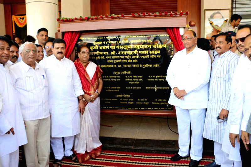 NCP chief Sharad Pawar during inauguration of `Sharad Krishi Bhavan` at Oras in Sindhudurg district of Maharashtra on May 14, 2014.