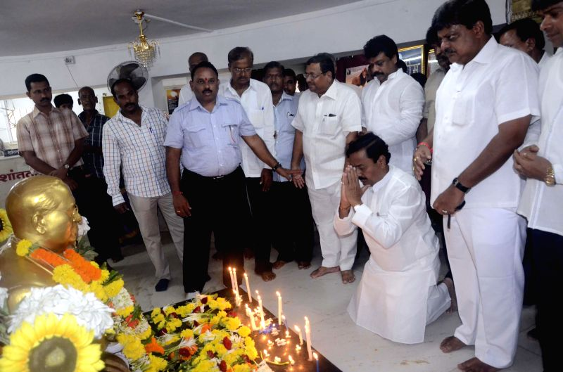 NCP Maharashtra unit chief Sunil Tatkare pays tribute to B. R. Ambedkar at Chaitya Bhoomi in Mumbai on June 27, 2014.