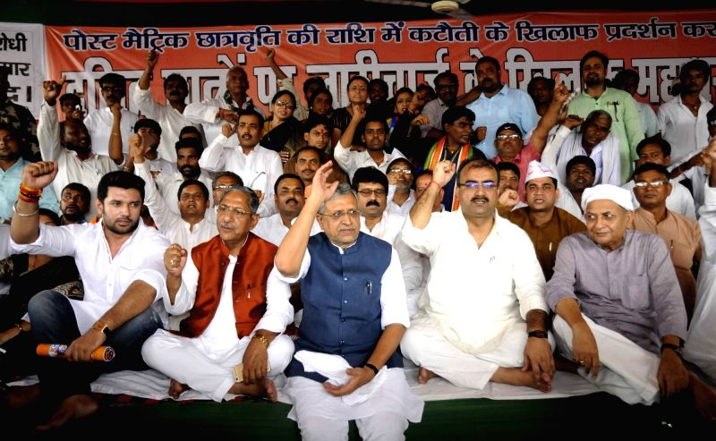 NDA leaders stage a demonstration against the police lathicharge on dalit students in Patna on Aug. 6, 2016.