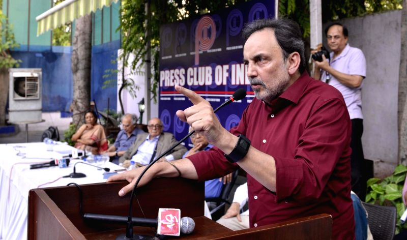 NDTV co-founder Prannoy Roy addresses a during a protest meet on the issue of Freedom of Media at Press Clubs of India in New Delhi, on June 9, 2017. - Prannoy Roy