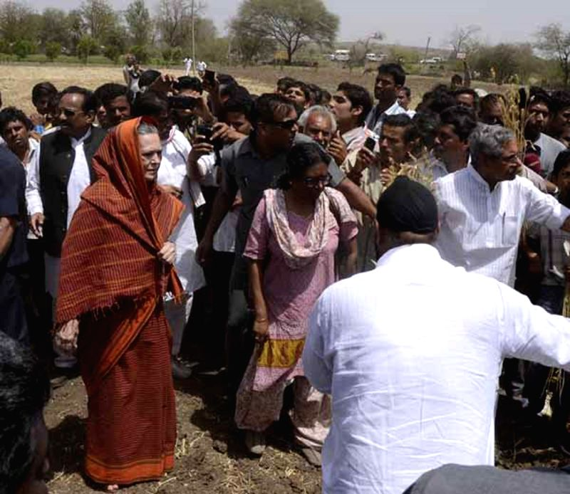 Congress chief Sonia Gandhi during her visit to  Madhya Pradesh's Neemuch district on April 2, 2015.