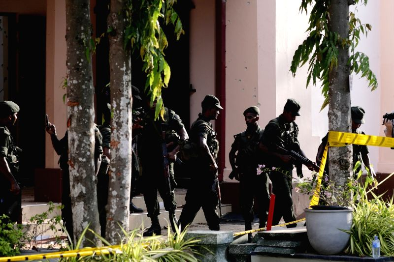 The St. Sebastian's Church where a blast took place is cordoned off in Negombo, north of Colombo, Sri Lanka