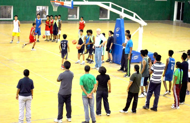 Nelson Islay (FIBA Coach) coaching the players registered for the FIBA-BFI Level 1 coaching Certification Course 2014 in Guwahati on Aug 29, 2014.
