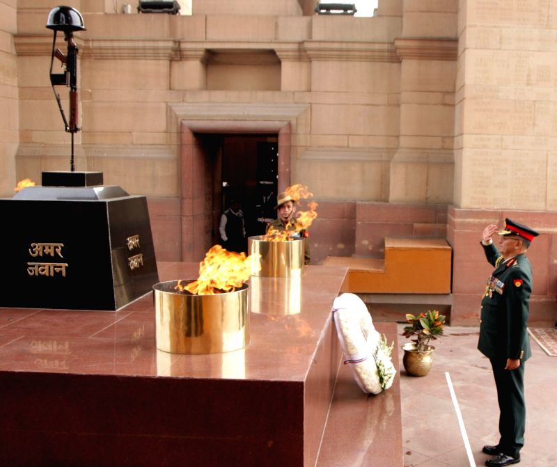 Nepal Army Chief General Purna Chandra Thapa pays homage to the martyrs at Amar Jawan Jyoti, India Gate, in New Delhi, on Jan 12, 2019.