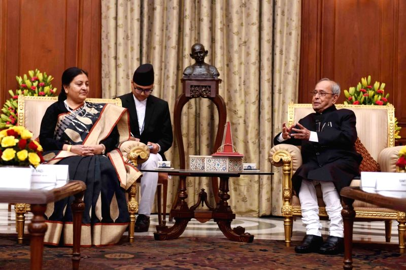 Nepal President Bidhya Devi Bhandari calls on President Pranab Mukherjee at Rashtrapati Bhawan in New Delhi, on April 18, 2017. - Pranab Mukherjee