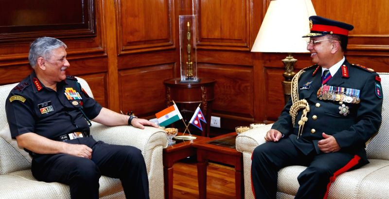 Nepal's Chief of the Army Staff (COAS) General Rajendra Chhetri calls on Army Chief General Bipin Rawat in New Delhi on June 7, 2018.