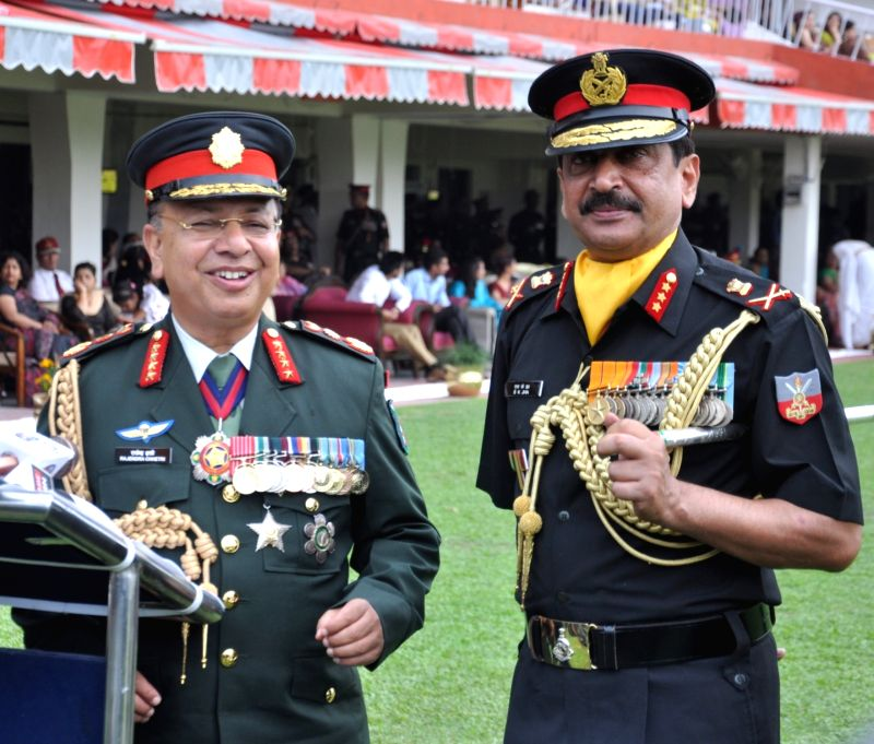 Nepalese Army Chief General ​​Rajendra Chhetri talks to the ​media during the Passing Out Parade at Indian Military Academy (IMA) in Dehradun on June 9, 2018.