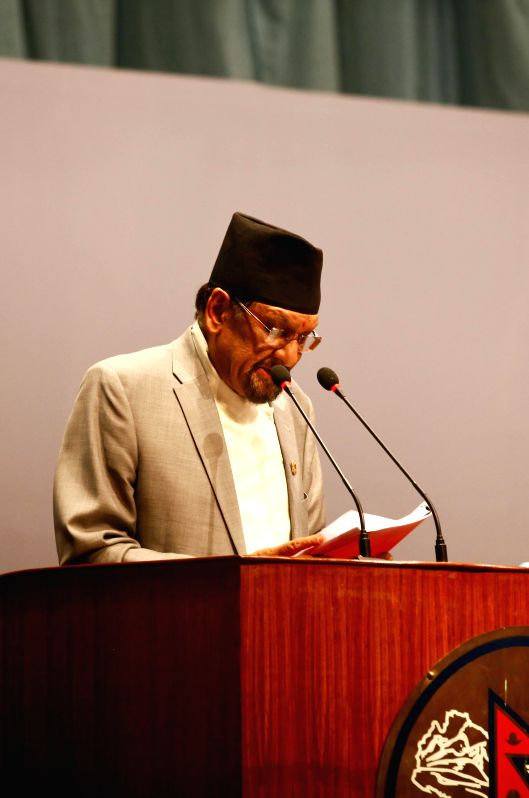Nepalese Finance Minister Ram Sharan Mahat delivers a budget speech of the fiscal year 2015-2016 at the parliament in Kathmandu, Nepal, July 14, 2015. Nepalese ... - Ram Sharan Mahat