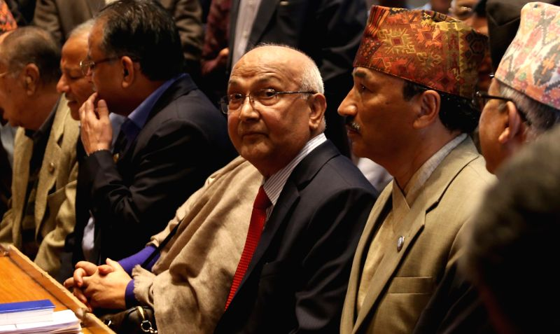 Nepalese Prime Minister KP Sharma Oli (3rd R) is seen during the filing nomination of Vice-Chairperson of the Communist Party of Nepal (Unified Marxist-Leninist) ...