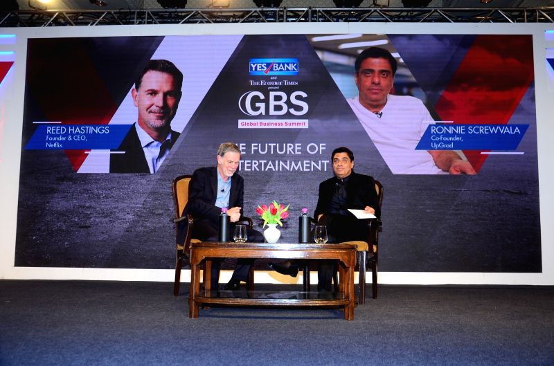 Netflix Founder Reed Hastings and Indian Entrepreneur Ronnie Screwvala at the 4th Global Business Summit in New Delhi on Feb 24, 2018.