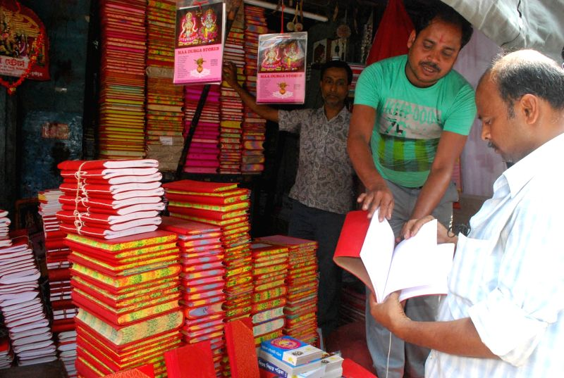 New account books arrive in Kolkata market ahead of Bengali New year in Kolkata, on April 13, 2015.