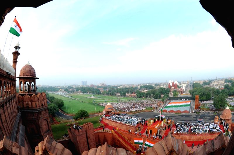 New Delhi,15 August 2010-A panoramic view as children form tricolor in front of Red Fort while the ...