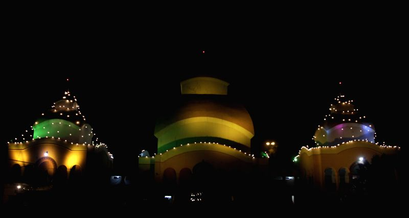 A beautifully illuminated temple in C R Park of New Delhi on Feb 17, 2015.